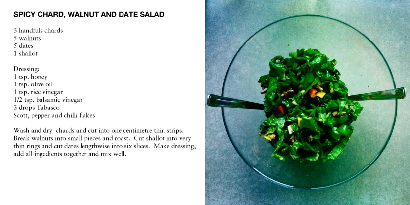 SPICY CHARD, WALNUT AND DATE SALAD