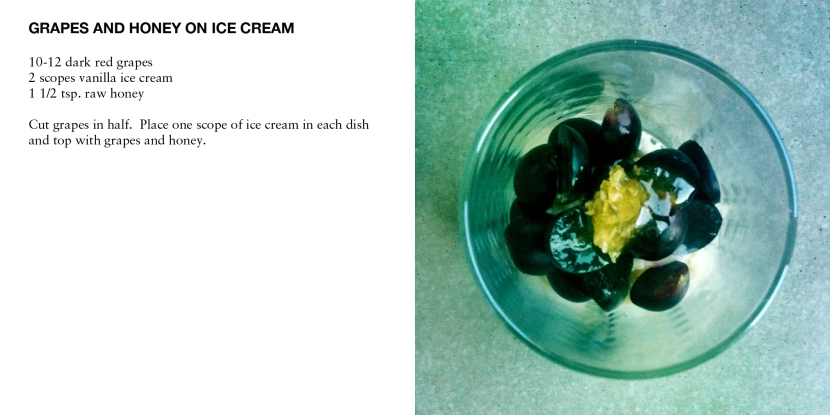 GRAPES AND HONEY ON ICE CREAM
