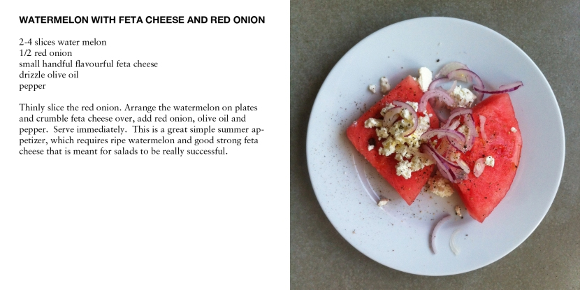 WATERMELON WITH FETA CHEESE AND RED ONION